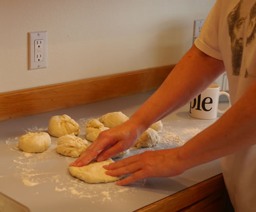 Dough into circle